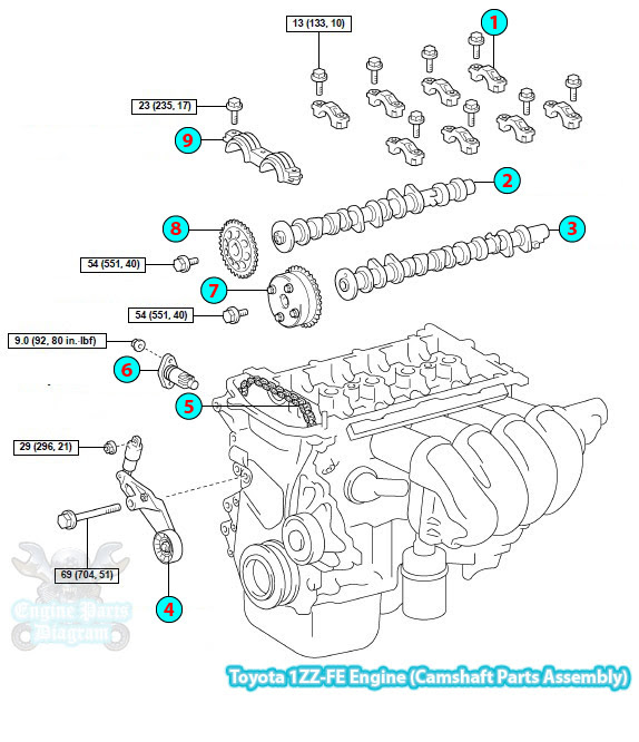 2004 Toyota Corolla Camshaft Parts Assembly (1ZZ-FE Engine)