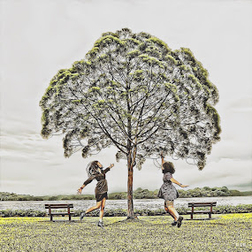 Reach out high! by Dee S. Alkhatib - Instagram & Mobile iPhone ( girls, ladies, bench, hdr, levitation, grass, green, edit, iphone, cute, jump, love, sky, nature, tree, seat, levitate )