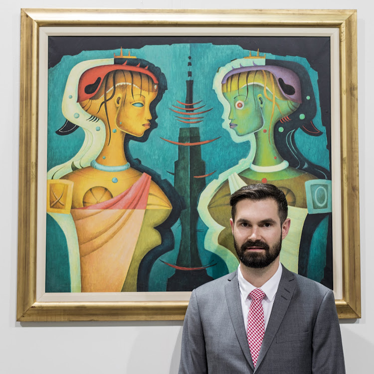 Ruarc Peffers with 'Profile Figures' by Alexis Preller, which achieved over R7-million at the inaugural Aspire auction