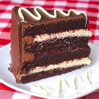Raspberry White Chocolate Truffle Tuxedo Cake