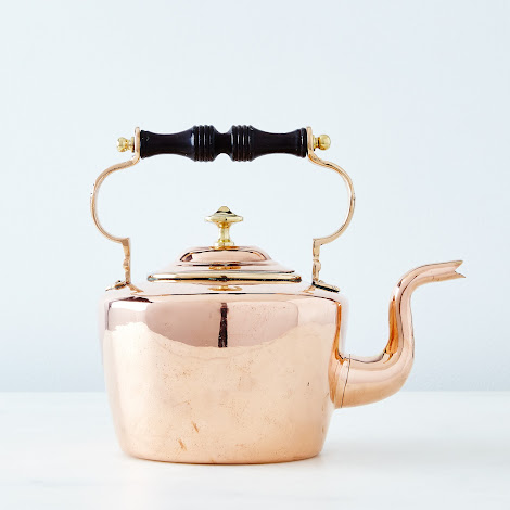 Vintage Copper Oval Tea Kettle with Ebony Handle, Late 19th Century