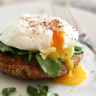 Quinoa Cakes and Poached Eggs.