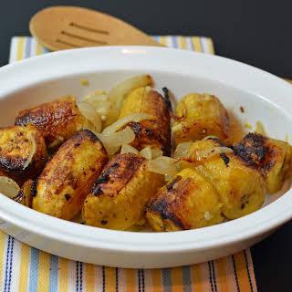 Roasted Plantains in Garlic (Mojo) Sauce.