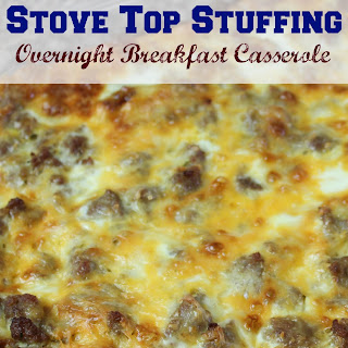 Overnight Breakfast Casserole with Stove Top Stuffing.