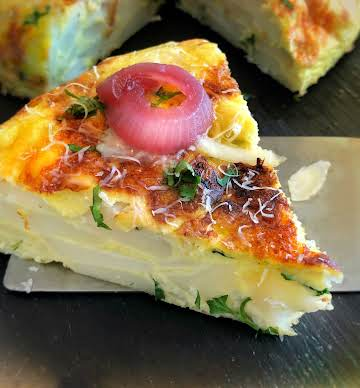 Spanish Tortilla with Manchego and Pickled Onion