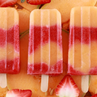 Cantaloupe & Strawberry Popsicles