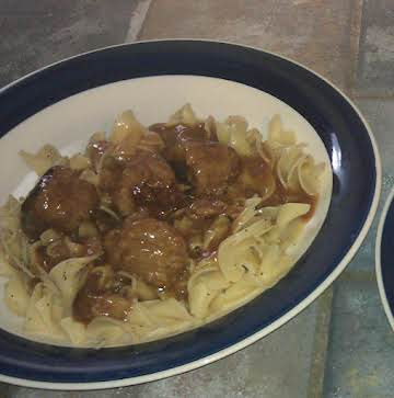 """""""Beefy"""" Meatballs and Egg Noodles"""