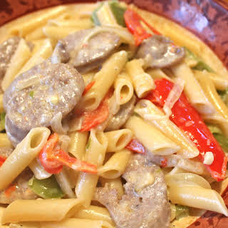 Sausage and Pepper Pasta in a Cream Sauce.