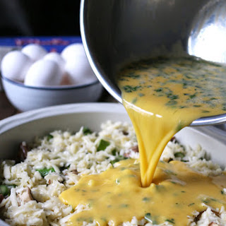 Asparagus Mushroom Swiss Egg Bake
