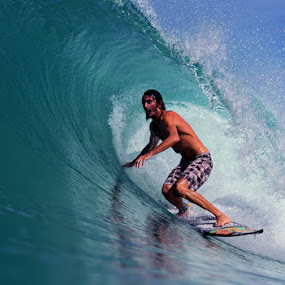 Somewhere in Sumatra by Paul Kennedy - Sports & Fitness Surfing (  surfer,  tropical, surfing,  tube ride )