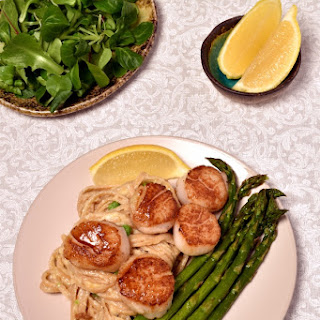 Scallops with Roast Asparagus and Creamy Pasta.