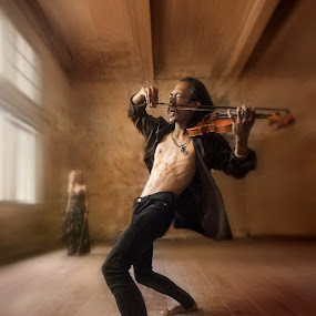 The Violinist Prince by Miko Adji - Digital Art People ( available light, indoor, woman, fine art photography, morning, people, conceptual, man, portrait )