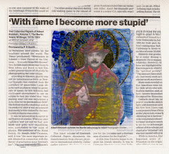 Photo: With Fame I Becom More Stupid Water color and gold leaf on newspaper,( 189 x 166 mm ).
