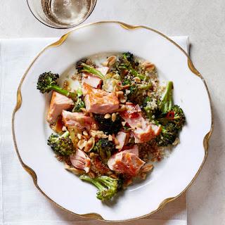 Roasted Salmon With Crispy Broccoli and Quinoa