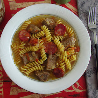 Stewed Veal Cubes With Chorizo and Fusilli Pasta.