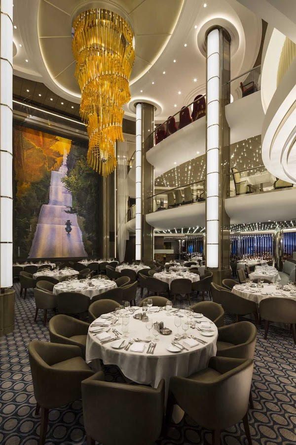 A look at the classy main dining room aboard Harmony of the Seas.