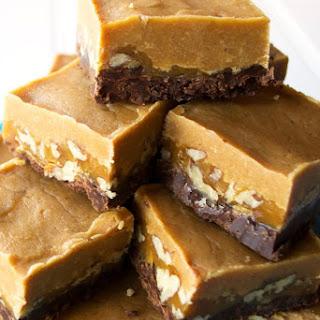 Layered Chocolate Peanut Butter Turtle Fudge Recipe