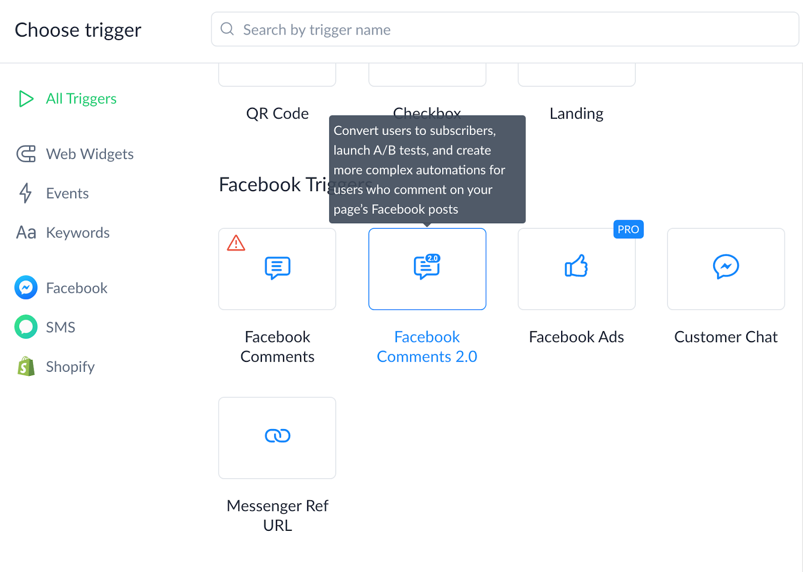 Screenshot of Comments 2.0 growth tool in ManyChat