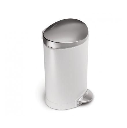 Semi-rund pedalhink Simplehuman 6 liter, vit, rostfritt stål