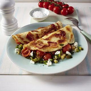 Bacon, Feta and Tomato Crepes.