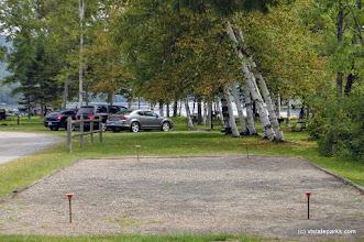 Photo: A horseshoe pit awaits players at Crystal Lake State Park