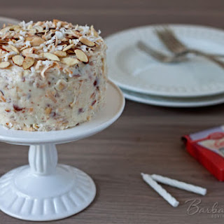 Chocolate Cake for Two with a Coconut Almond Cream Cheese Frosting.