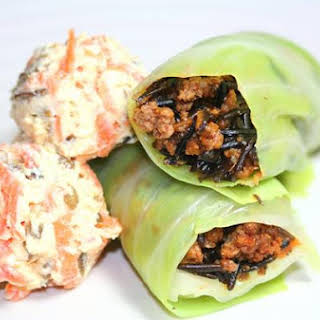 California Wild Rice & Beef Cabbage Wrap With Crunchy Ricotta Cheese.