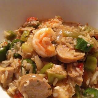 Chicken Sausage Jambalaya with Shrimp.