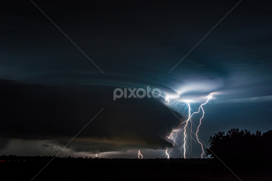 Supercell by Brian Box - Landscapes Weather ( lightning, supercell, longexposure, weather, thunderstorm, night photography )