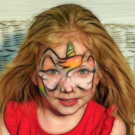 Gianna with a unicorn face by Joe Saladino - Digital Art People ( face painting, girl, unicorn, child )