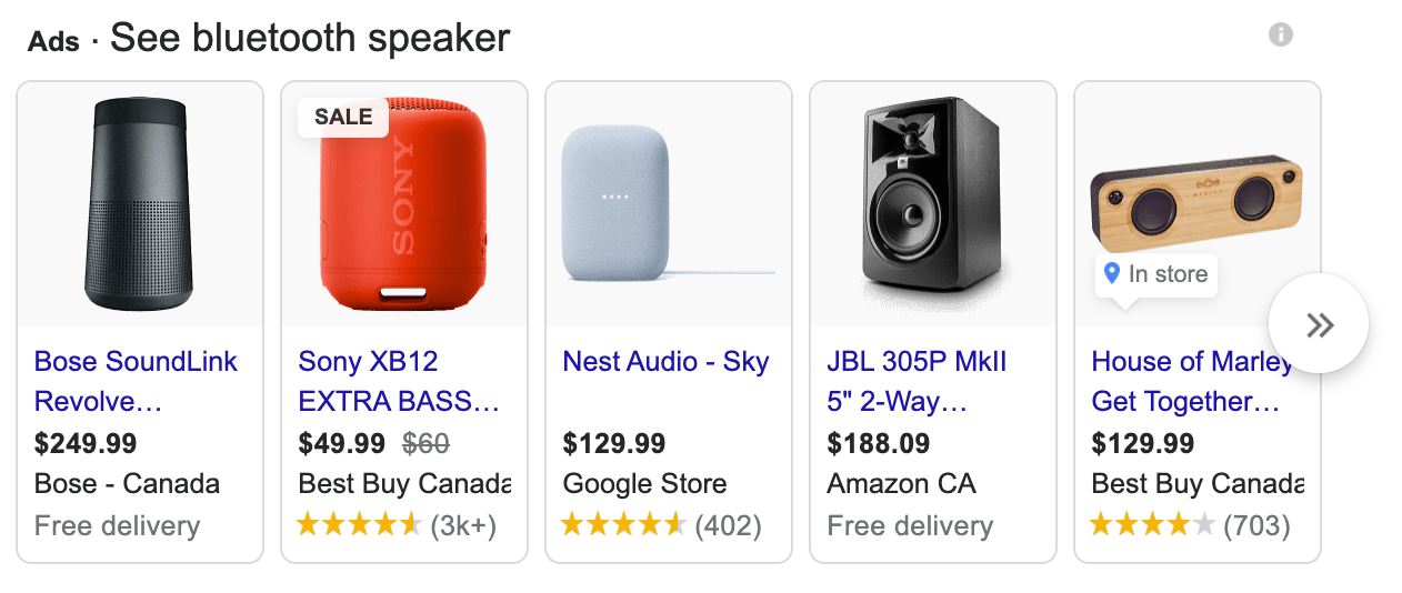 "Shopping Campaign for the keyword ""Bluetooth Speakers"""