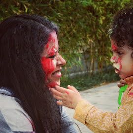 Mom N Me by Nishant Mishra - People Family ( celebration, holi, candid, festival, baby, mom, colors, fun )