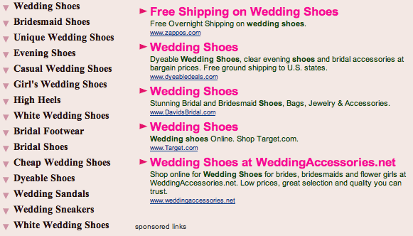 Wedding shoes domain screenshot