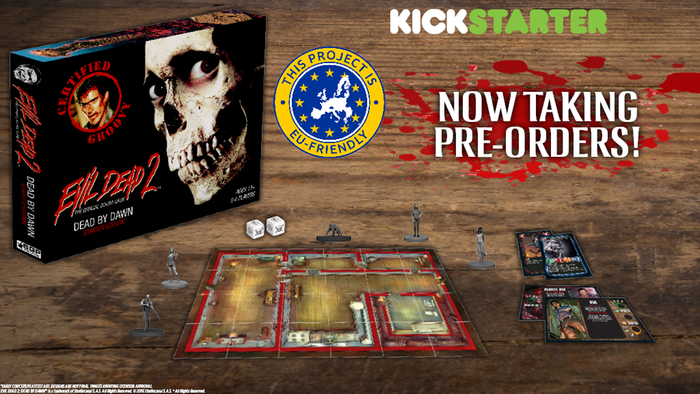 Evil Dead 2: The Official Board Game is a tile and miniature based survival horror game for 2-6 Players based on the classic movie. Pre-order now!