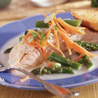 Salmon and Vegetables with Coconut Sauce.