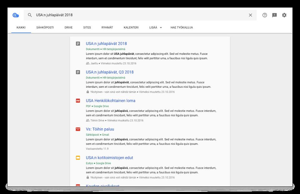 Cloud Search ‑selainnäkymä