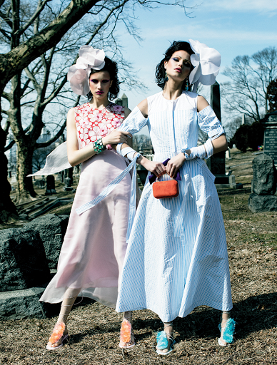 Fashion editorial featuring looks from Delpozo, Carolee and Jimmy Choo.