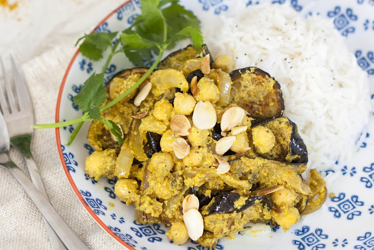 Nutty Aubergine and Chickpea Curry Recipe