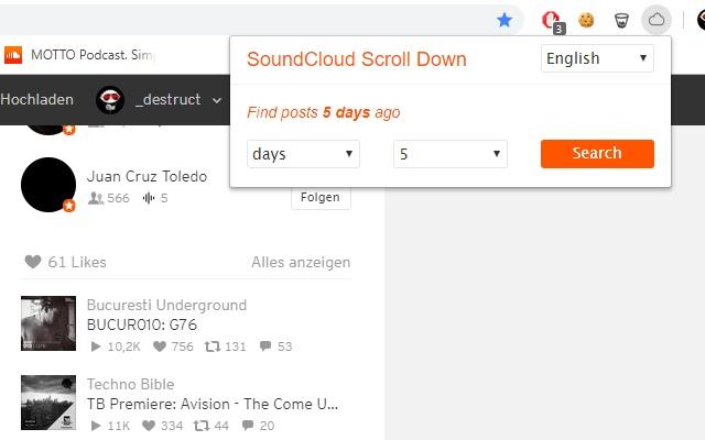 SoundCloud ScrollDown