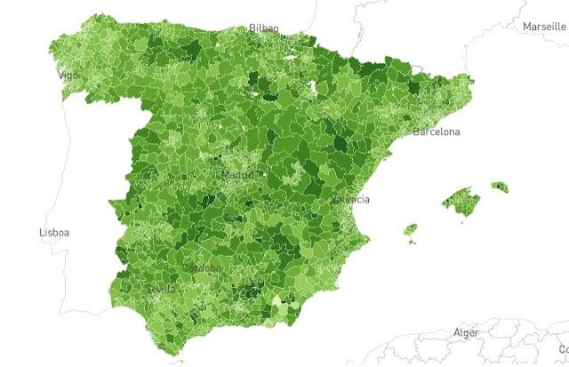 Mapa de desplazamientos en España elaborado por el país.