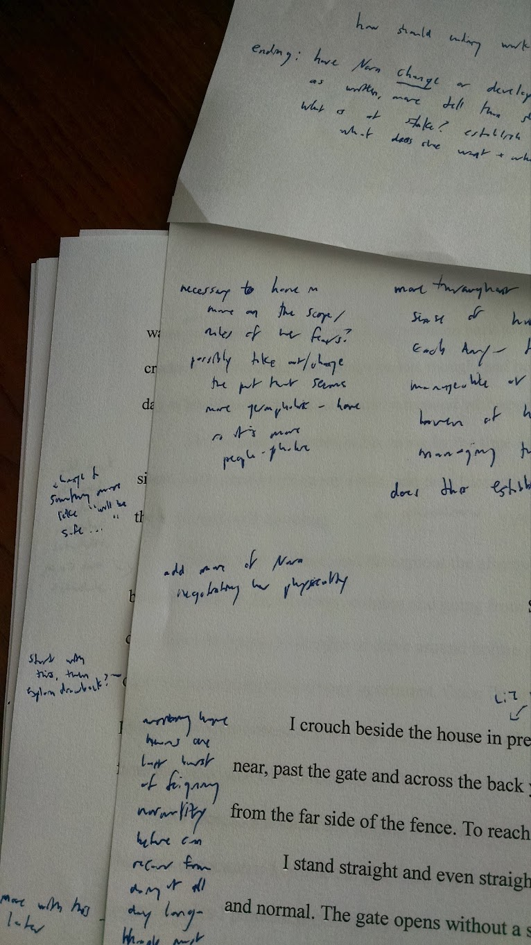 short story printout with handwritten notes