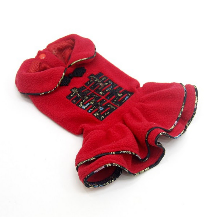 [Valentine PROMO] Red Color Double Happiness Dog Fleece Dress