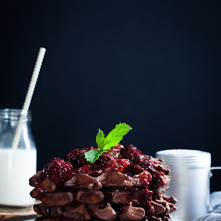 Gluten-Free Chocolate Chestnut Waffles with Balsamic Roasted Berries