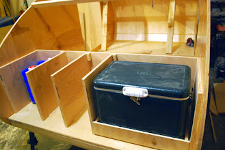 Photo: Framing out kitchen and created one drawer for our cooler. The entire kitchen was designed around fitting this cooler - that determined the depth of the galley and height of the counter.