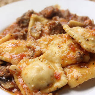 Skillet Ravioli with Meat Sauce for Two.