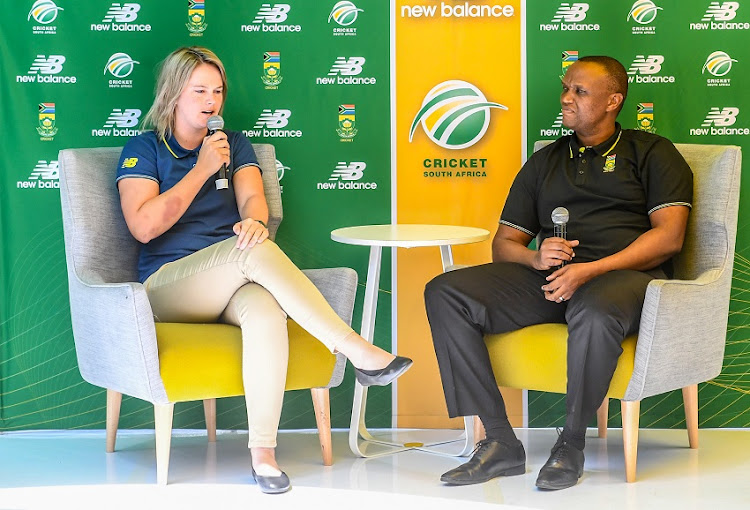 Captain Dane Van Niekerk and coach Hilton Moreeng during the Proteas Women's send-off to ICC Women's World T20 at CSA Head Offices on October 23, 2018 in Johannesburg, South Africa.