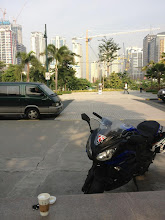 Photo: Matty Natalotto's motorbike with a Swannies' sticker, Manila, October, 2012.