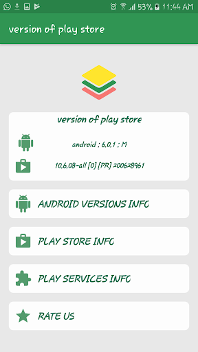 Version of Play Store & Google Play Services 1.1 screenshots 1