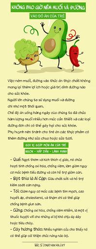 khong bao gio nem muoi va duong vao do an cua tre