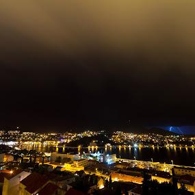 Dubrovnik in stormy Night by Daniel Pavlinović - Landscapes Starscapes ( dubrovnik, croatia, gruz )